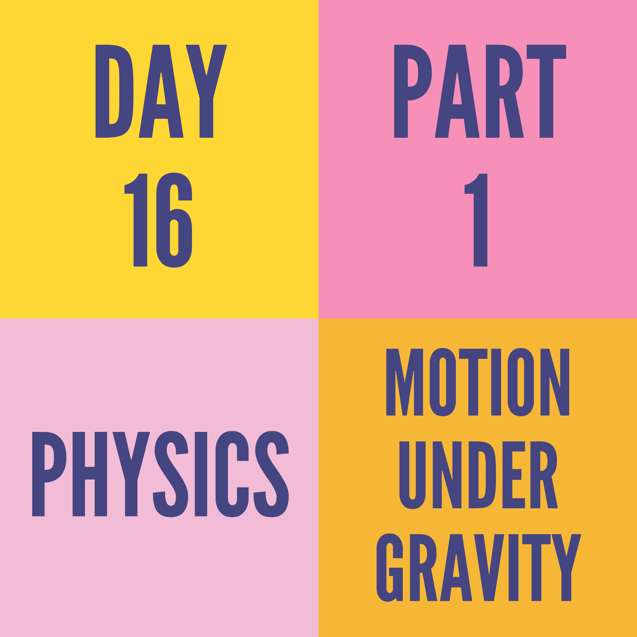 DAY-16 PART-1 MOTION UNDER GRAVITY