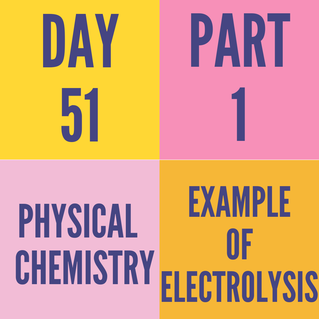 DAY-51 PART-1 EXAMPLE OF ELECTROLYSIS