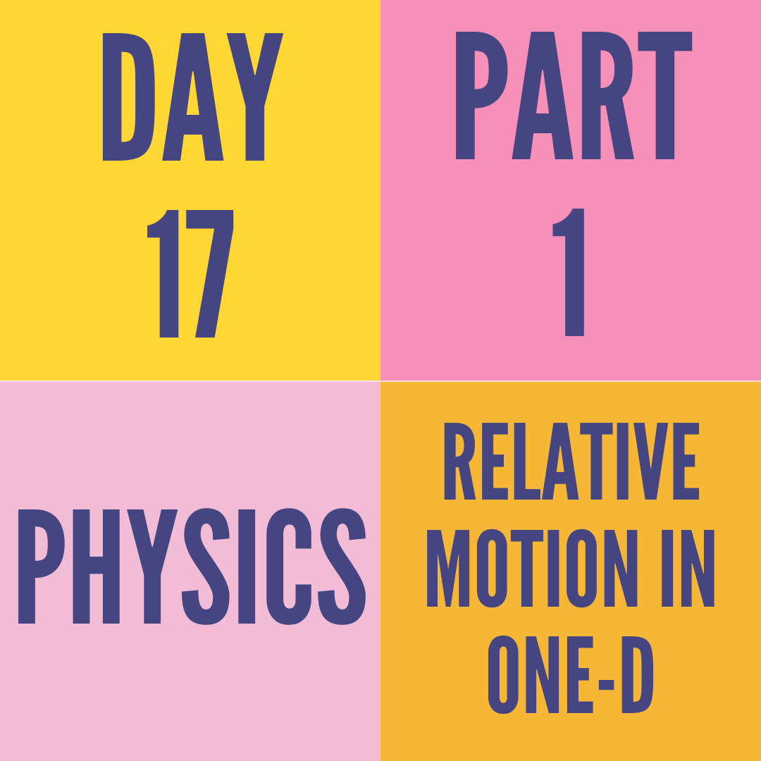 DAY-17 PART-1 RELATIVE MOTION IN ONE-D