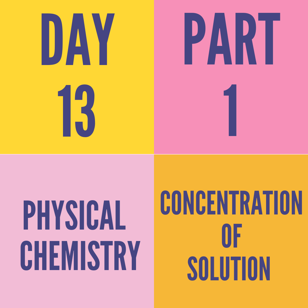 DAY-13 PART-1 CONCENTRATION OF SOLUTION