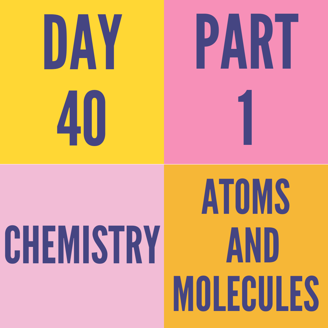 DAY-40 PART-1 ATOMS AND MOLECULES