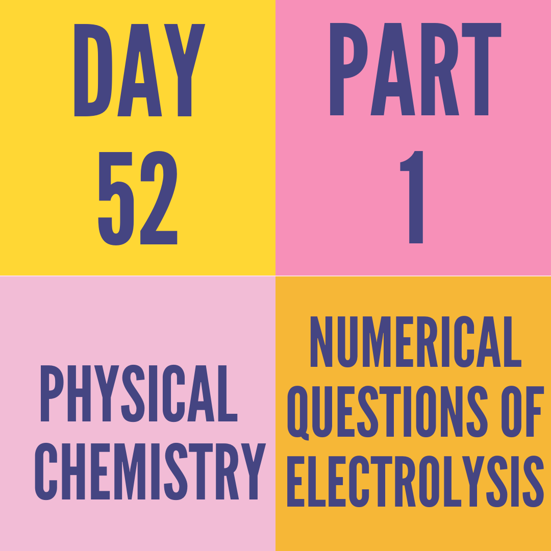 DAY-52 PART-1 NUMERICAL QUESTIONS OF ELECTROLYSIS