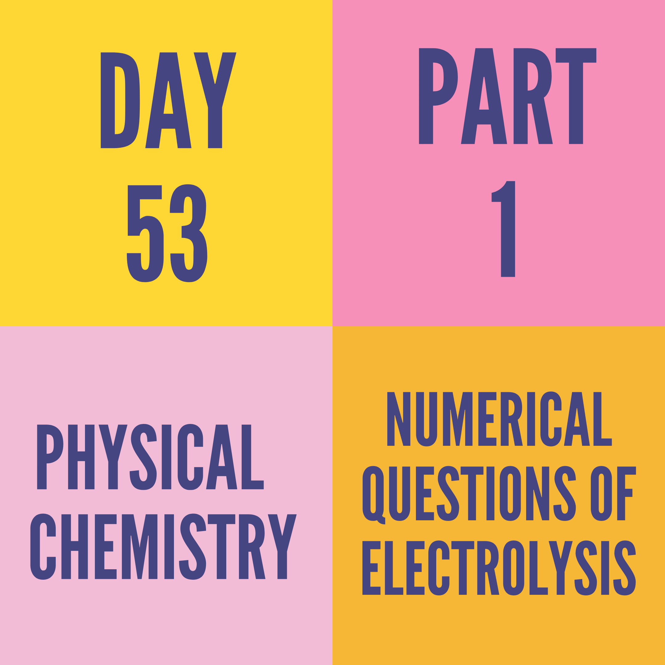 DAY-53 PART-1 NUMERICAL QUESTIONS OF ELECTROLYSIS