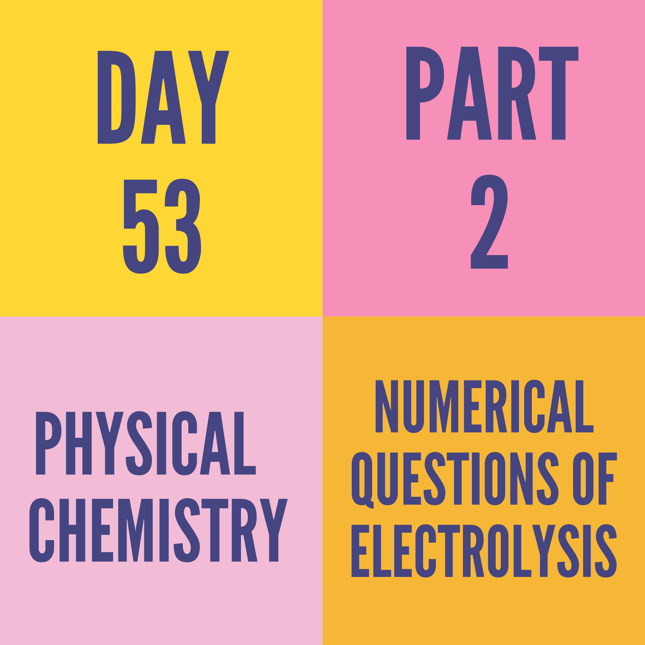 DAY-53 PART-2 NUMERICAL QUESTIONS OF ELECTROLYSIS