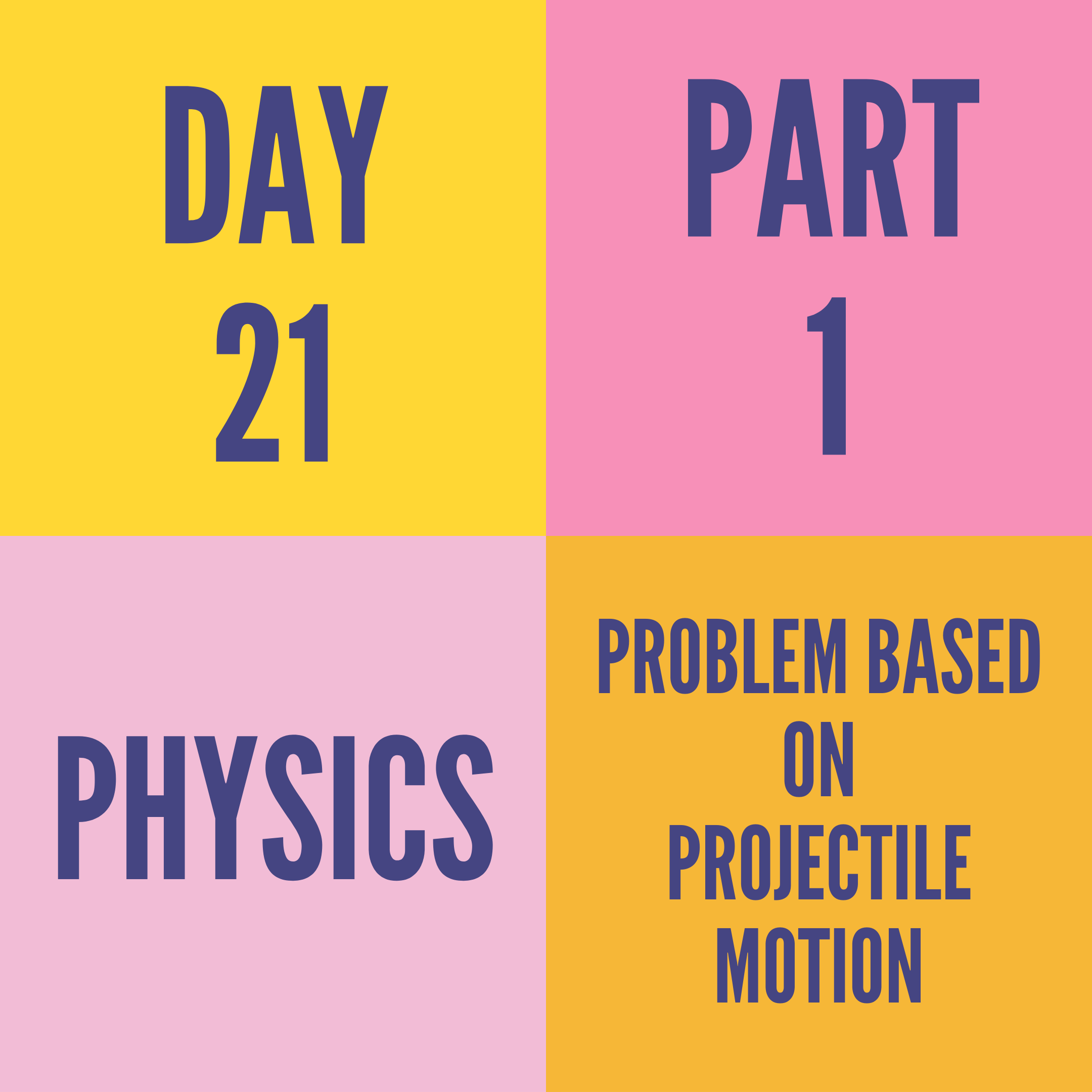 DAY-21 PART-1 PROBLEM BASED ON PROJECTILE MOTION