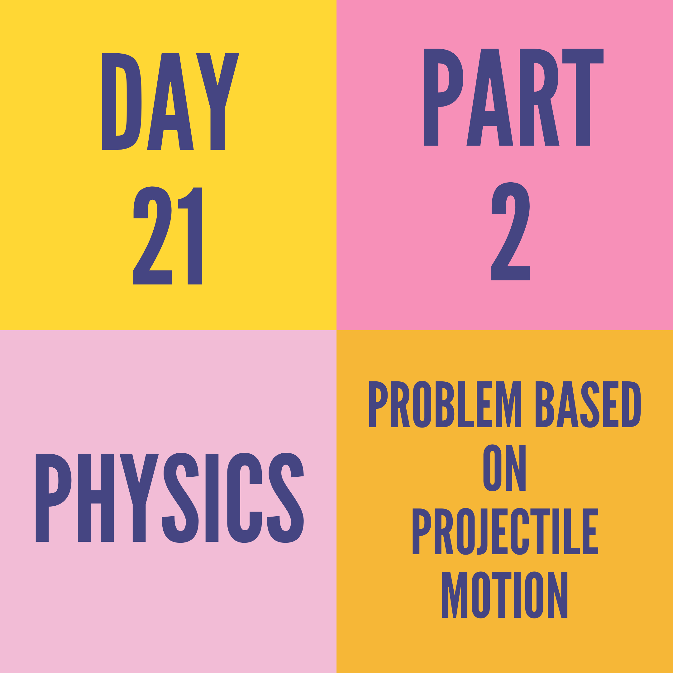 DAY-21 PART-2 PROBLEM BASED ON PROJECTILE MOTION
