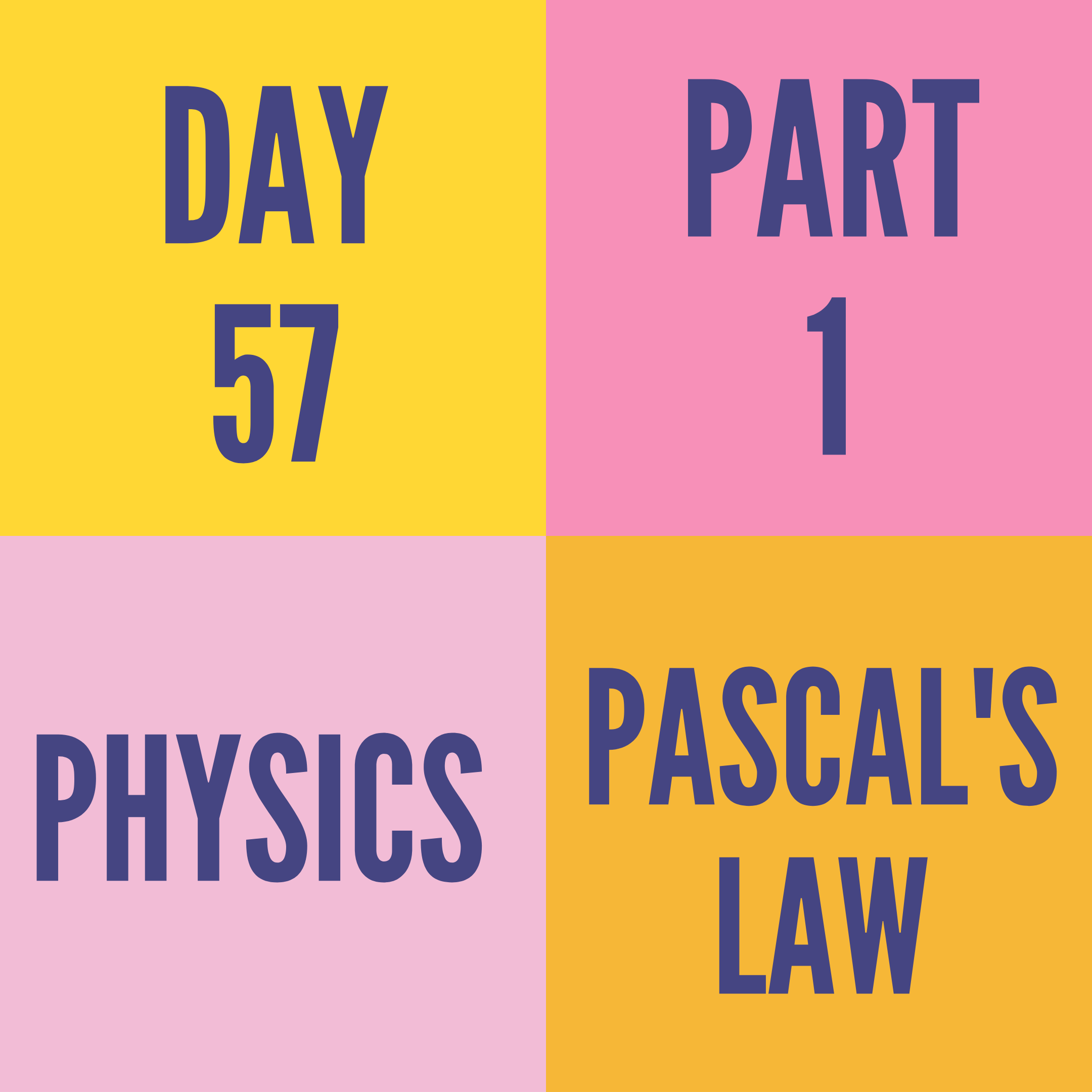 DAY-57 PART-1 PASCAL'S LAW
