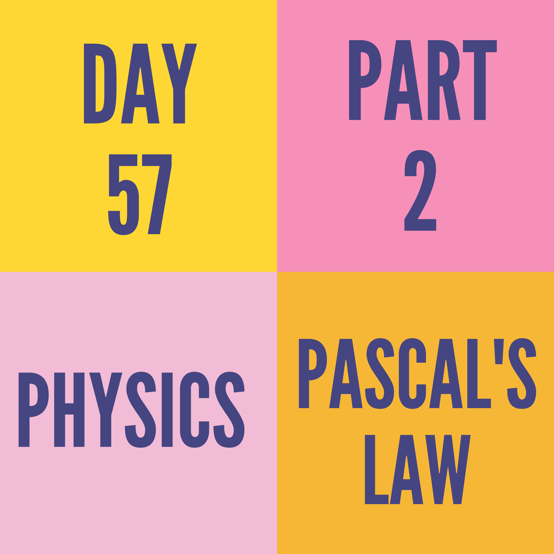DAY-57 PART-2 PASCAL'S LAW