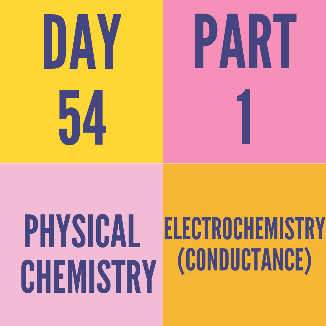 DAY-54 PART-1 ELECTROCHEMISTRY (CONDUCTANCE)