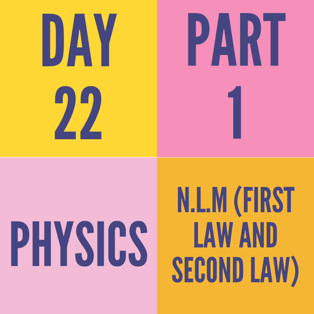 DAY-22 PART-1 N.L.M (FIRST LAW AND SECOND LAW)