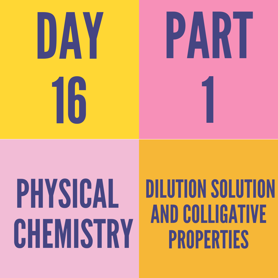 DAY-16 PART-1 DILUTION SOLUTION AND COLLIGATIVE PROPERTIES