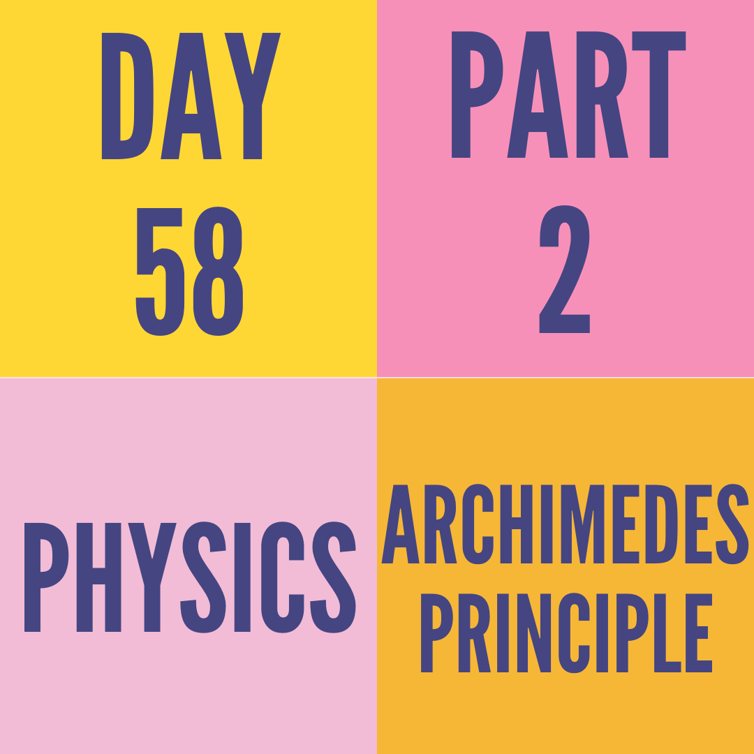 DAY-58 PART-2 ARCHIMEDES PRINCIPLE