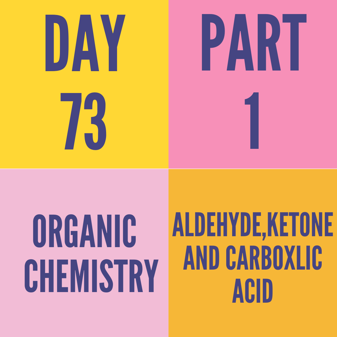 DAY-73 PART-1 ALDEHYDE,KETONE AND CARBOXLIC ACID