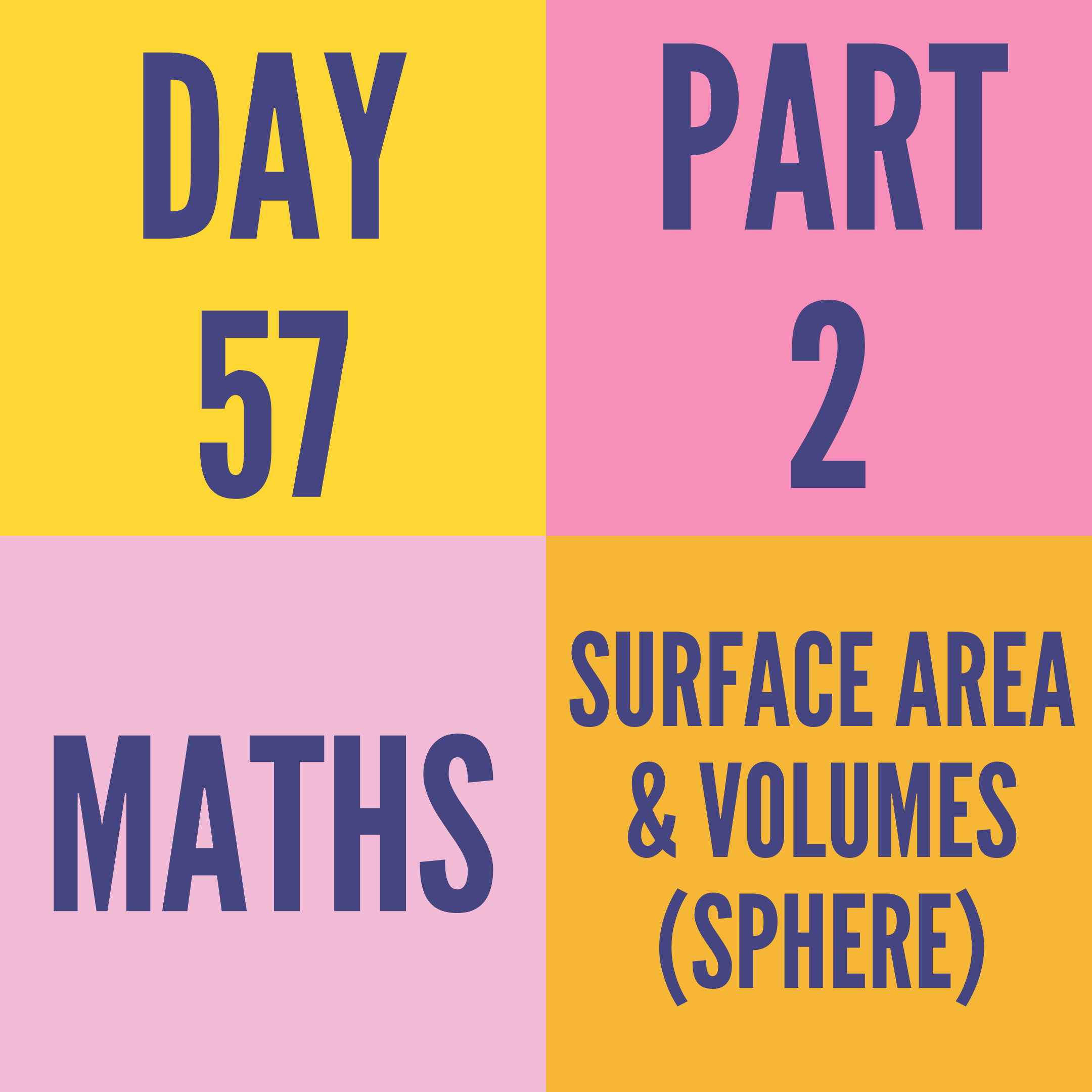 DAY-57 PART-2 SURFACE AREA & VOLUMES (SPHERE)