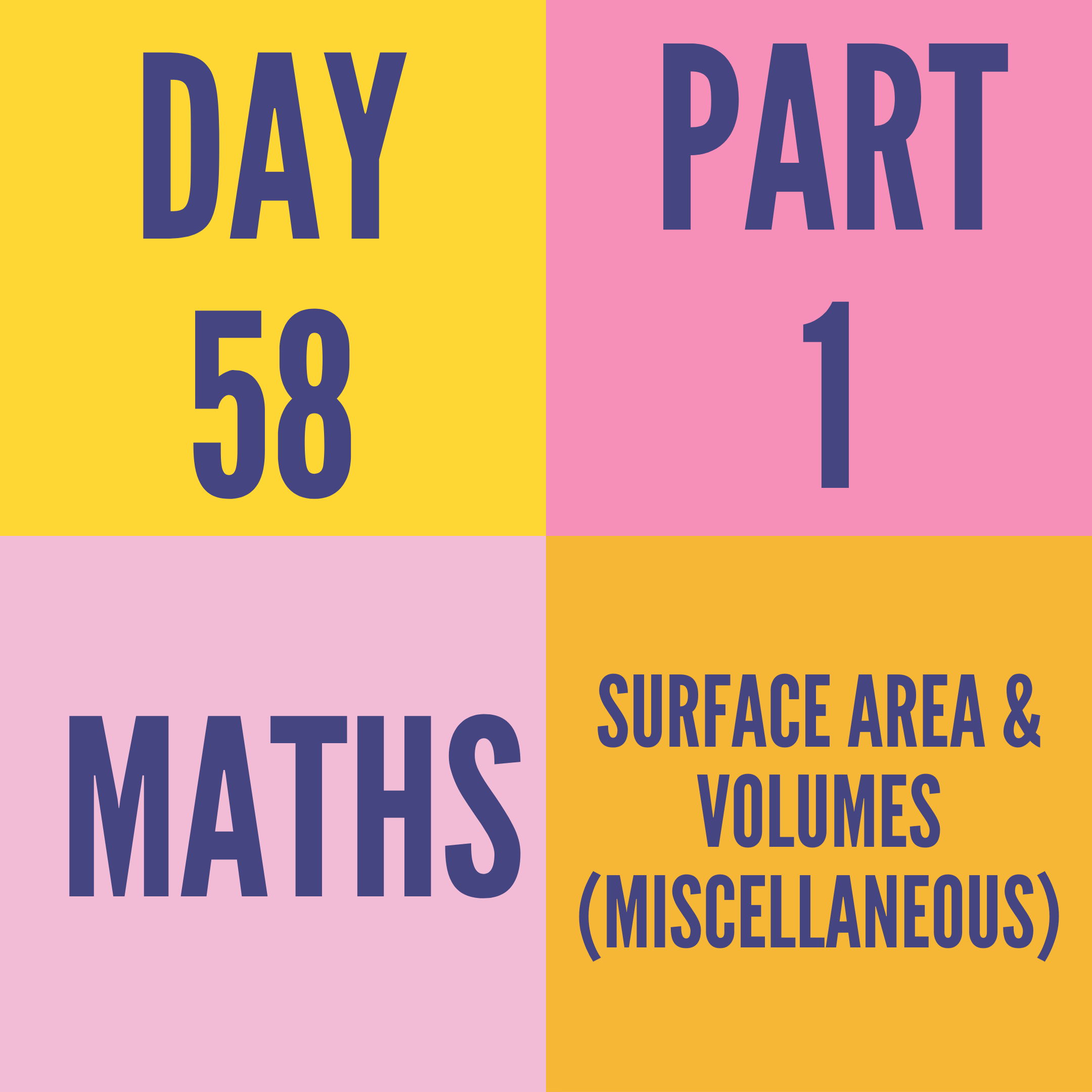 DAY-58 PART-1 SURFACE AREA & VOLUMES (MISCELLANEOUS)