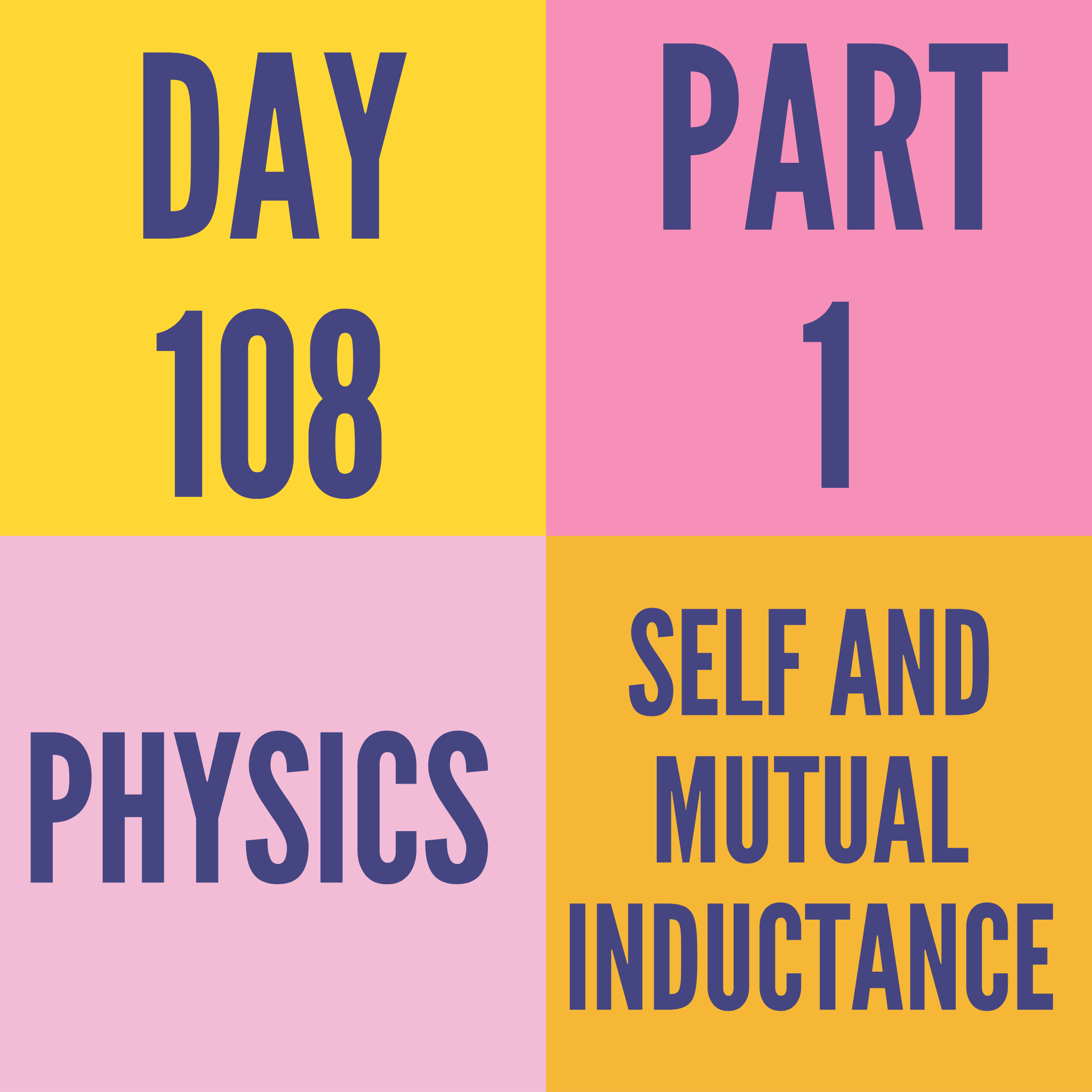 DAY-108 PART-1 SELF AND MUTUAL INDUCTANCE