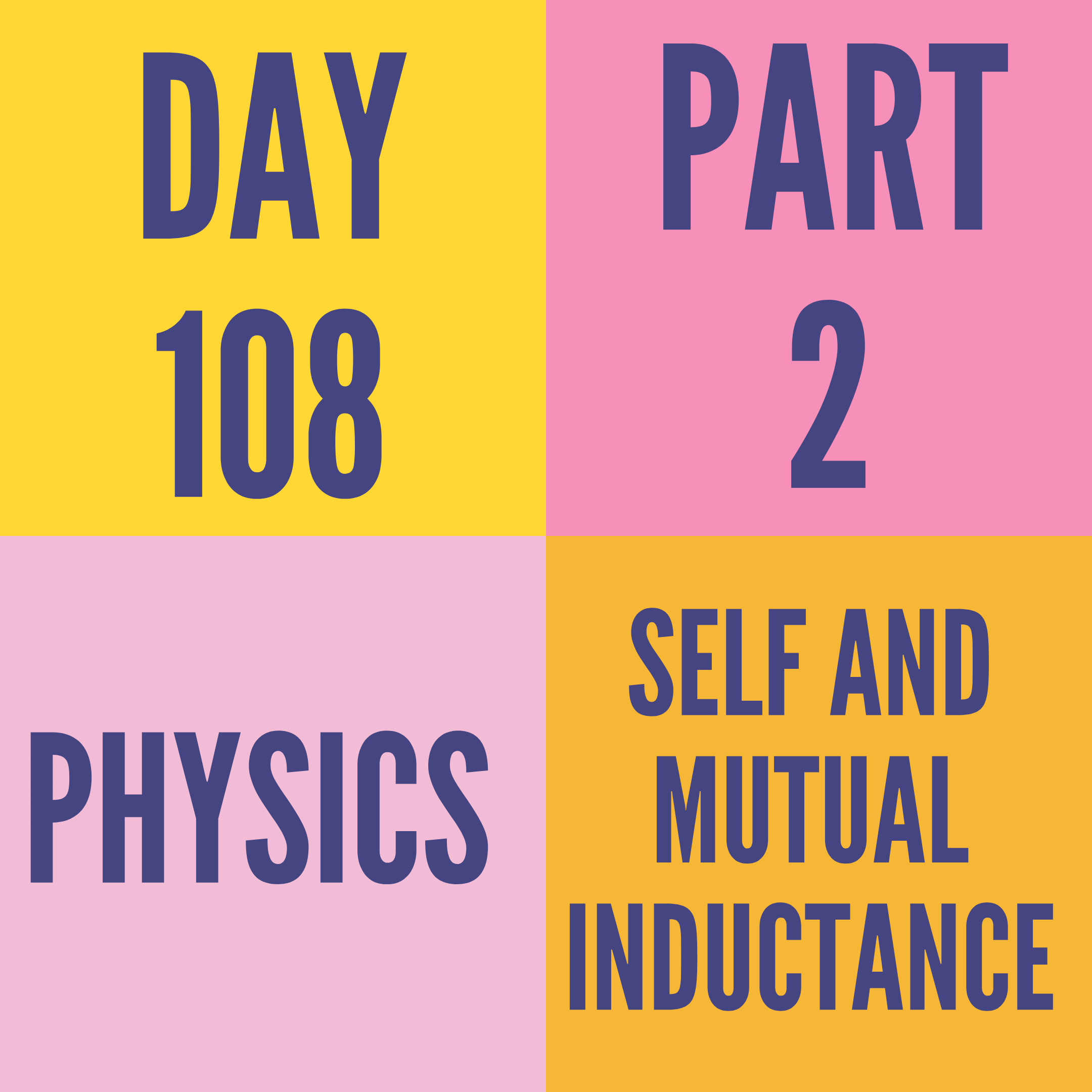 DAY-108 PART-2 SELF AND MUTUAL INDUCTANCE