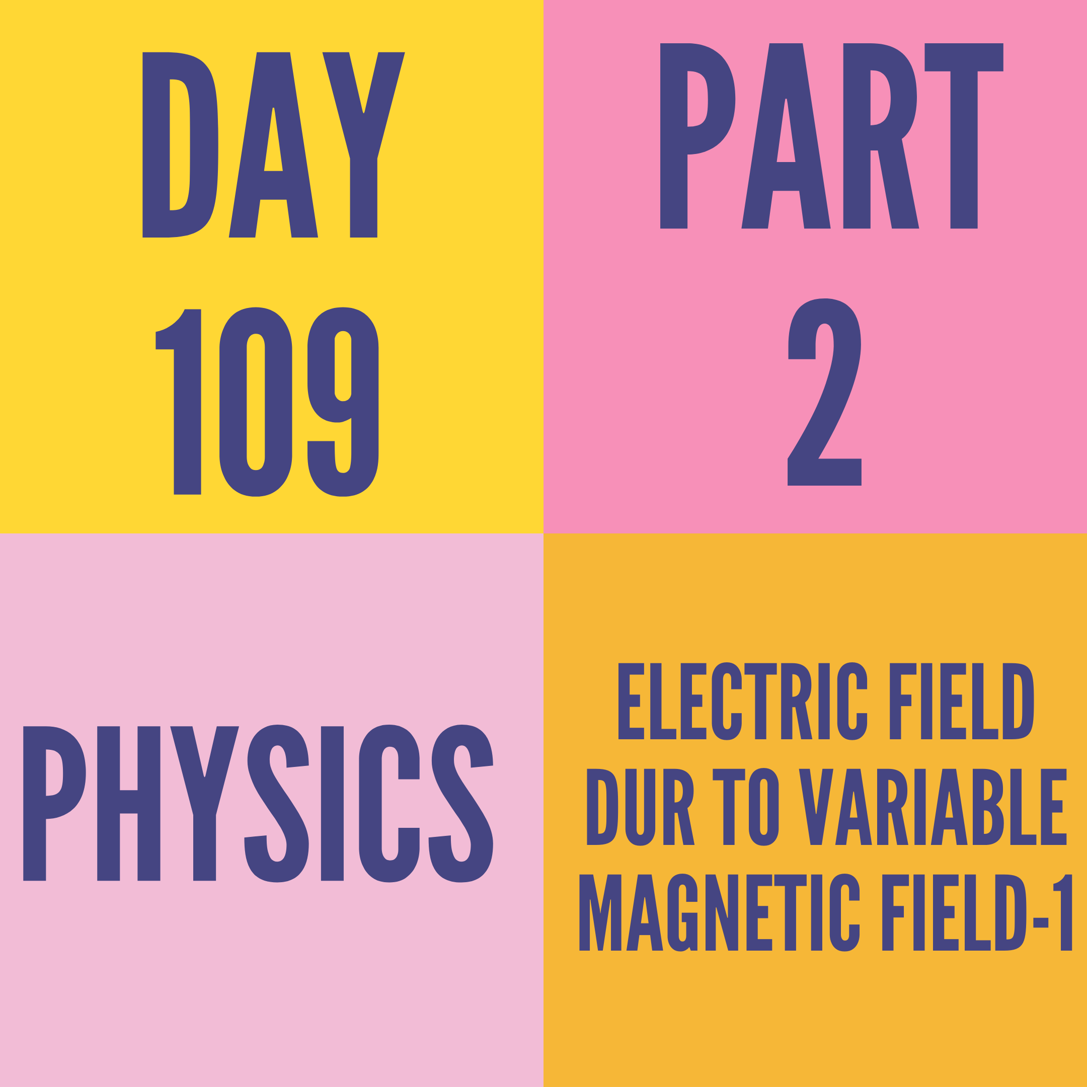 DAY-109 PART-2 ELECTRIC FIELD DUR TO VARIABLE MAGNETIC FIELD-1