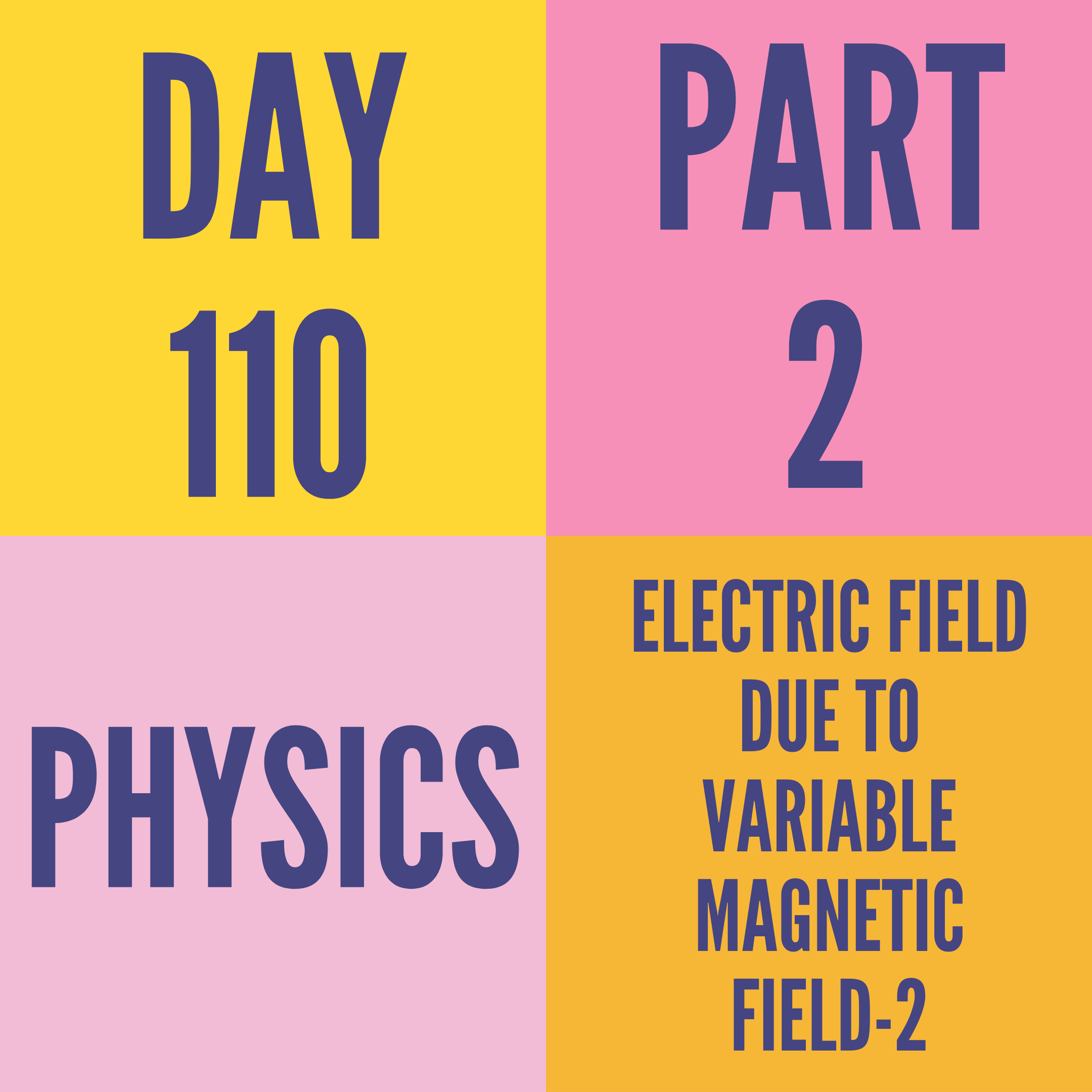 DAY-110 PART-2 ELECTRIC FIELD DUE TO VARIABLE MAGNETIC FIELD-2