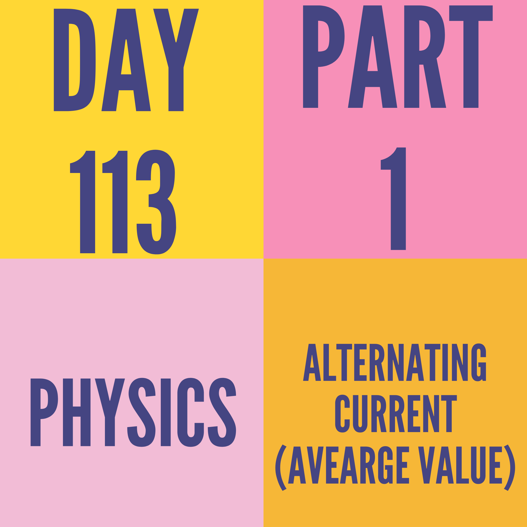 DAY-113 PART-1 ALTERNATING CURRENT (AVEARGE VALUE)