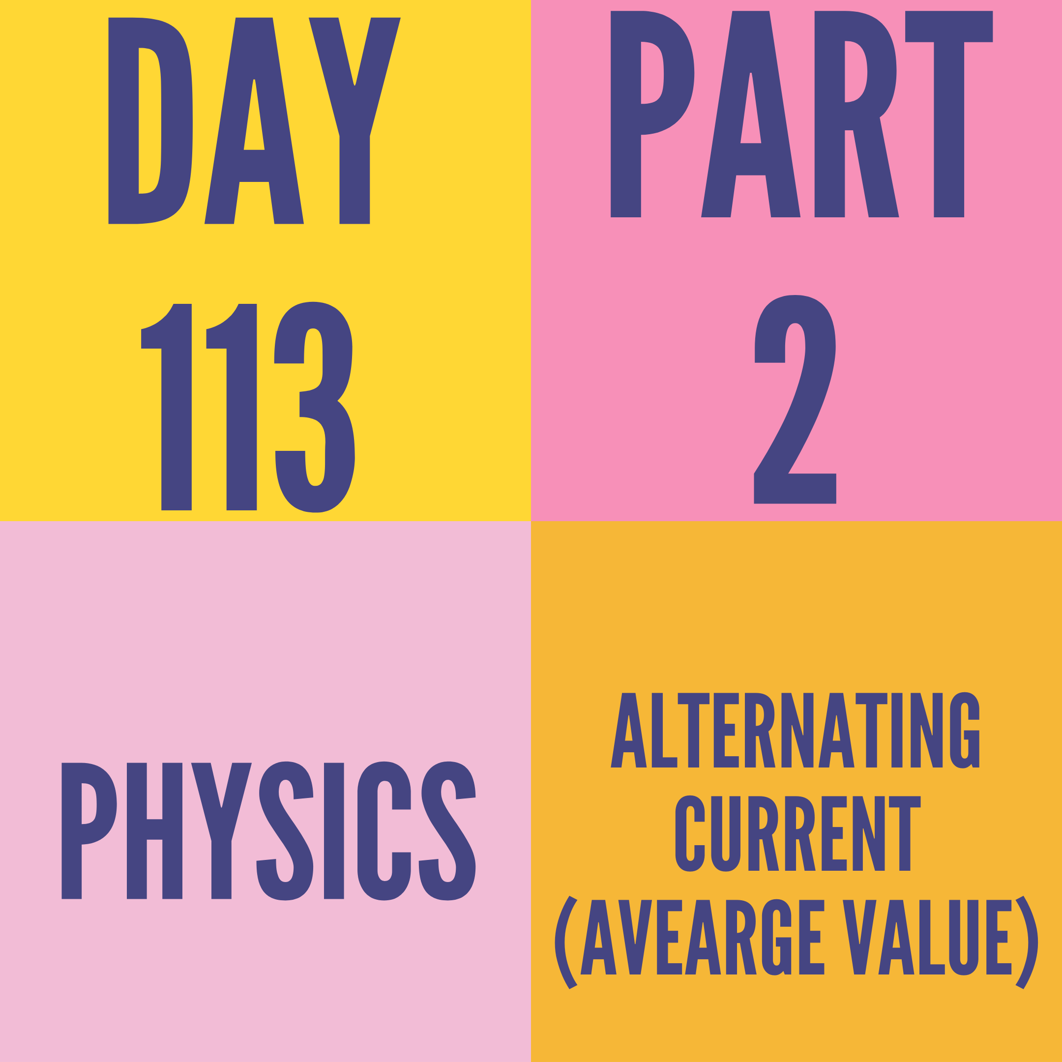 DAY-113 PART-2 ALTERNATING CURRENT (AVEARGE VALUE)