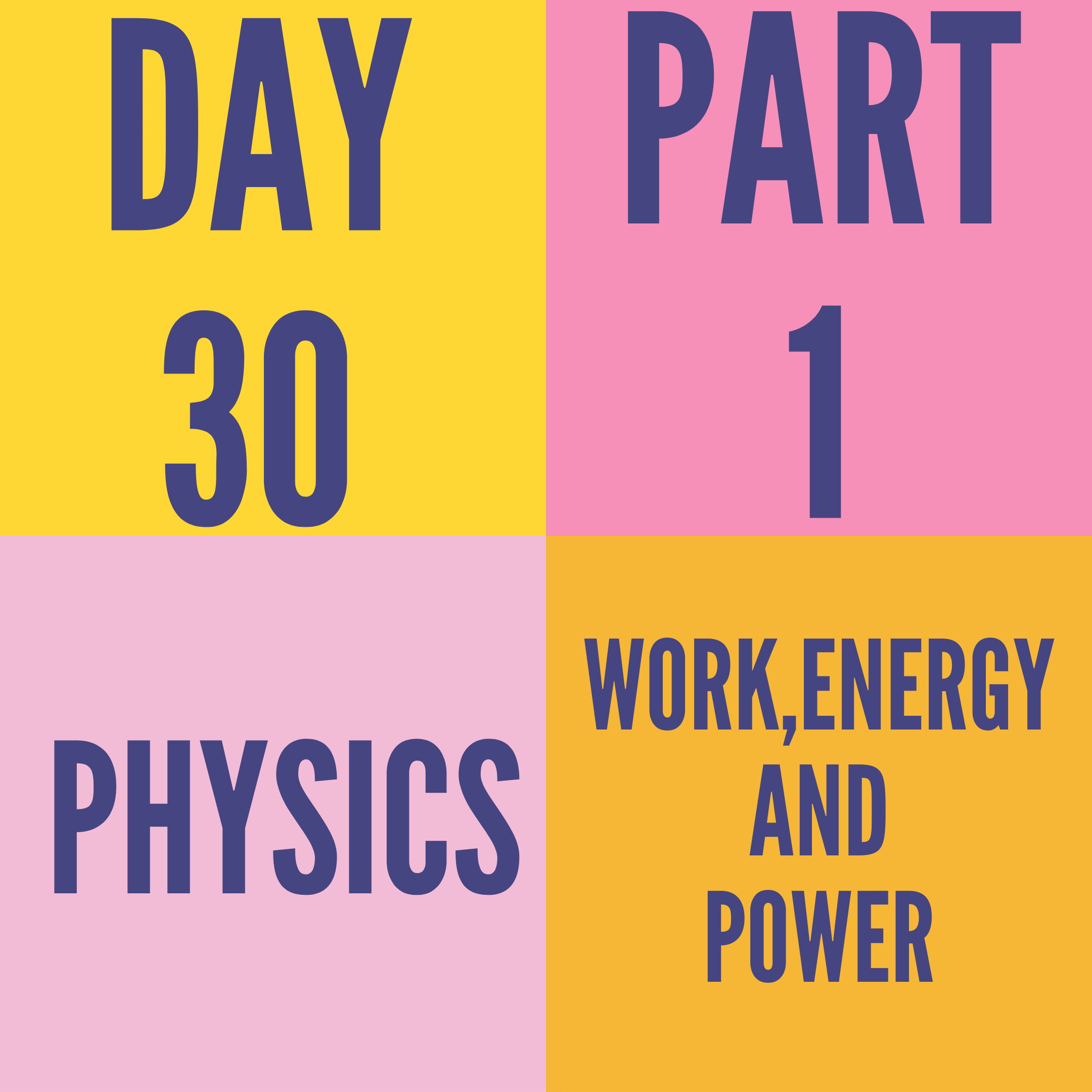 DAY-30 PART-1 WORK,ENERGY AND POWER