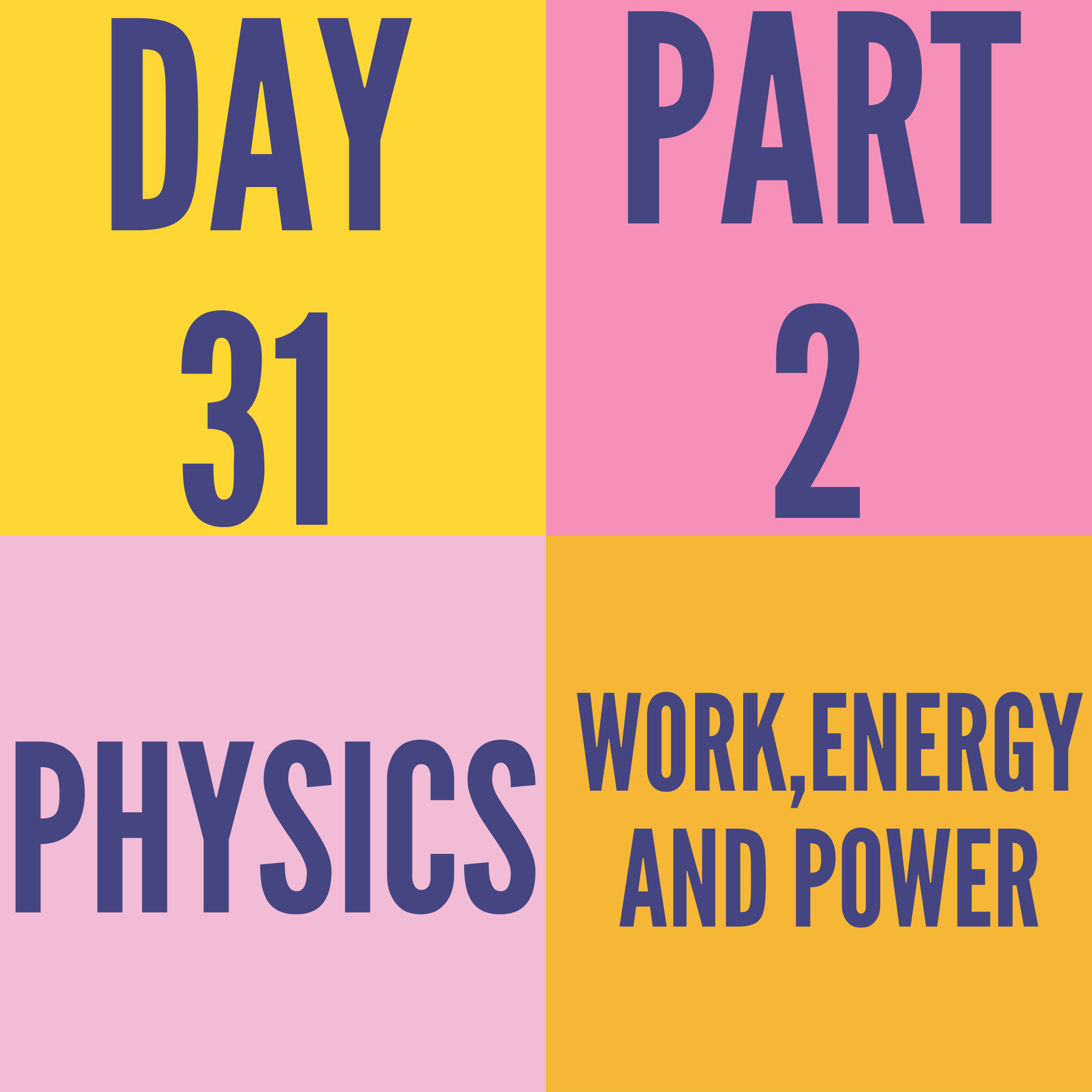DAY-31 PART-2 WORK,ENERGY AND POWER