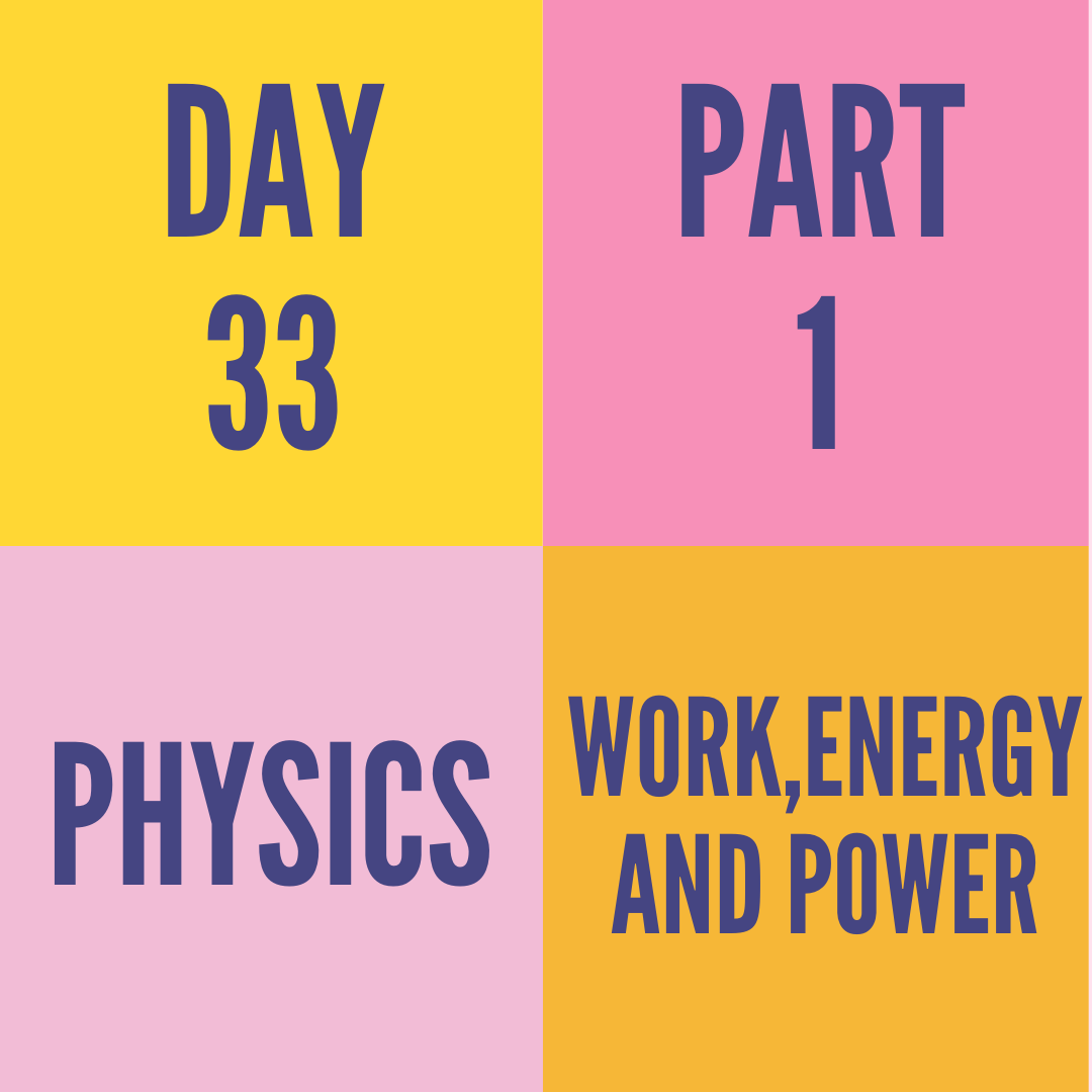 DAY-33 PART-1 WORK,ENERGY AND POWER