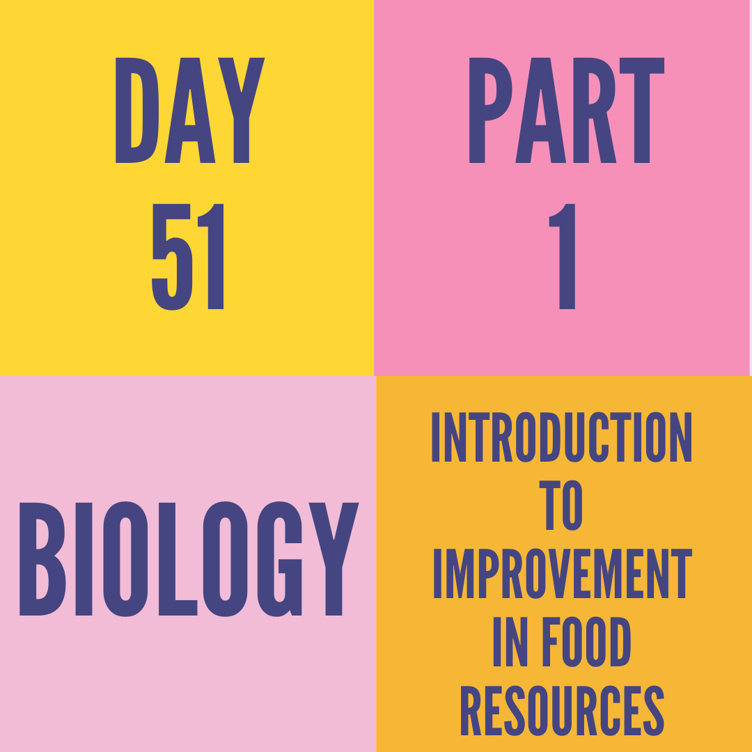 DAY-51 PART-1 INTRODUCTION TO IMPROVEMENT IN FOOD RESOURCES