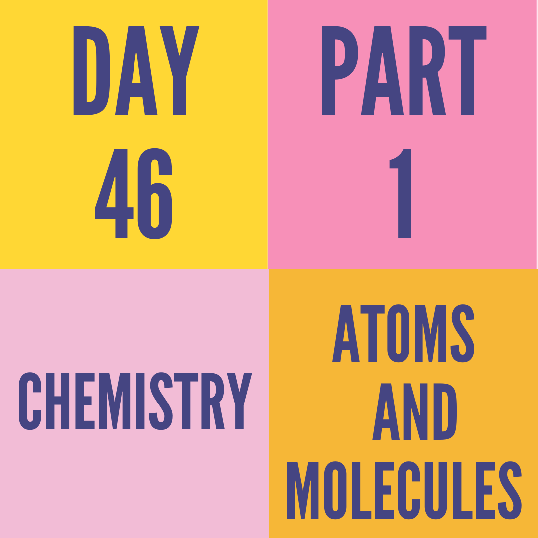 DAY-46 PART-1 ATOMS AND MOLECULES
