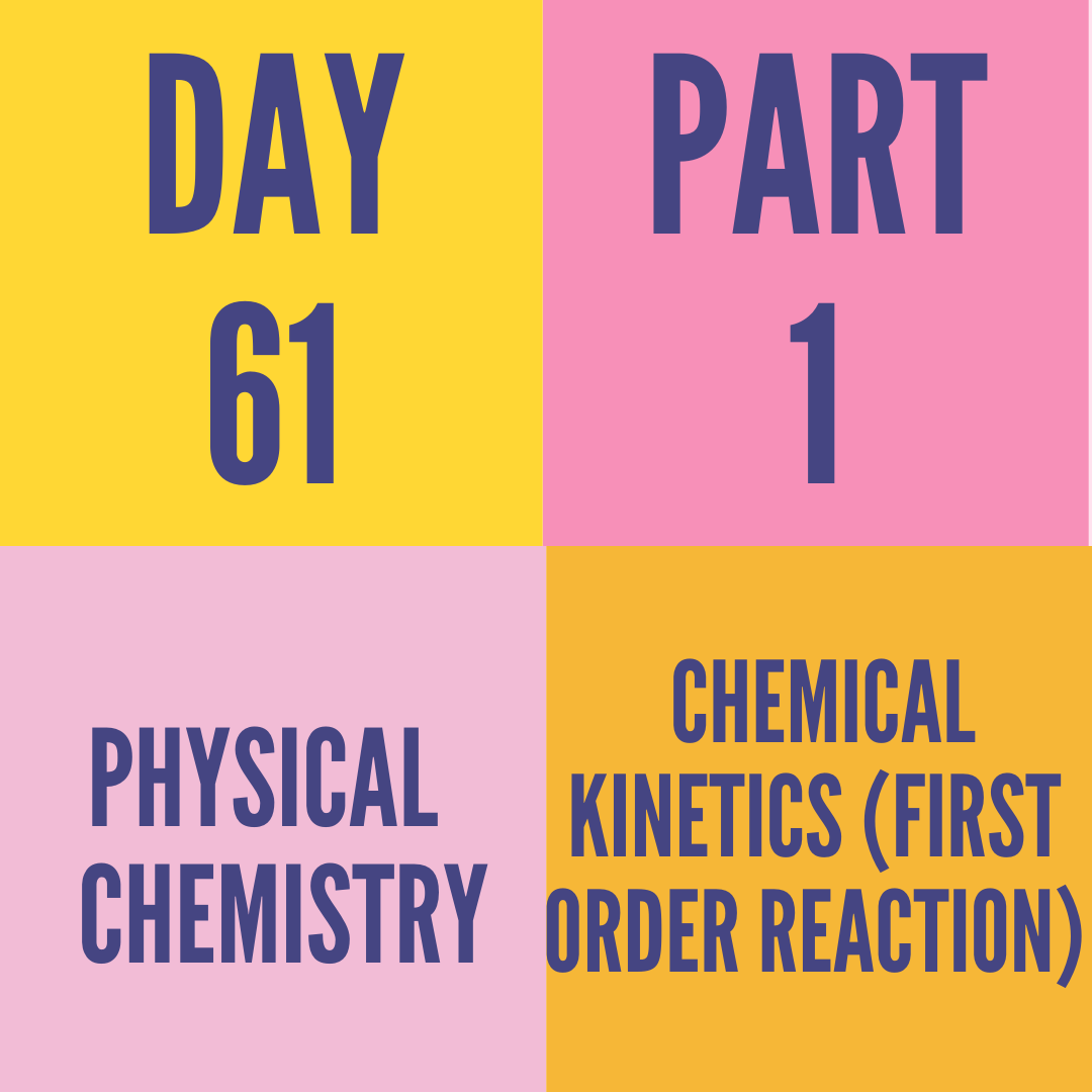 DAY-61 PART-1 CHEMICAL KINETICS (FIRST ORDER REACTION)