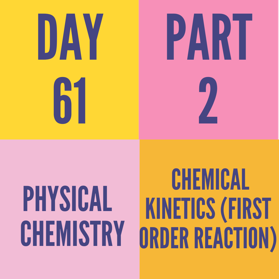 DAY-61 PART-2 CHEMICAL KINETICS (FIRST ORDER REACTION)