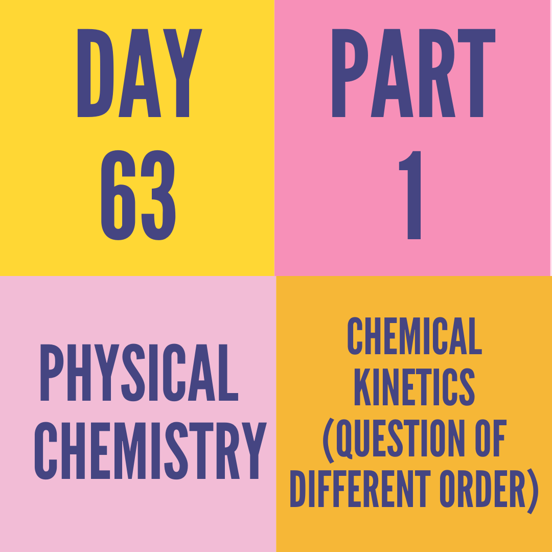 DAY-63 PART-1 CHEMICAL KINETICS (QUESTION OF DIFFERENT ORDER)