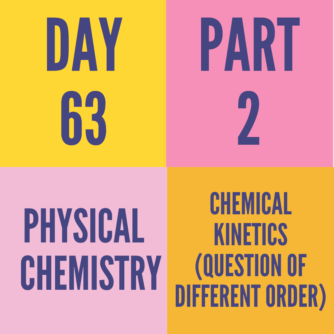 DAY-63 PART-2 CHEMICAL KINETICS (QUESTION OF DIFFERENT ORDER)