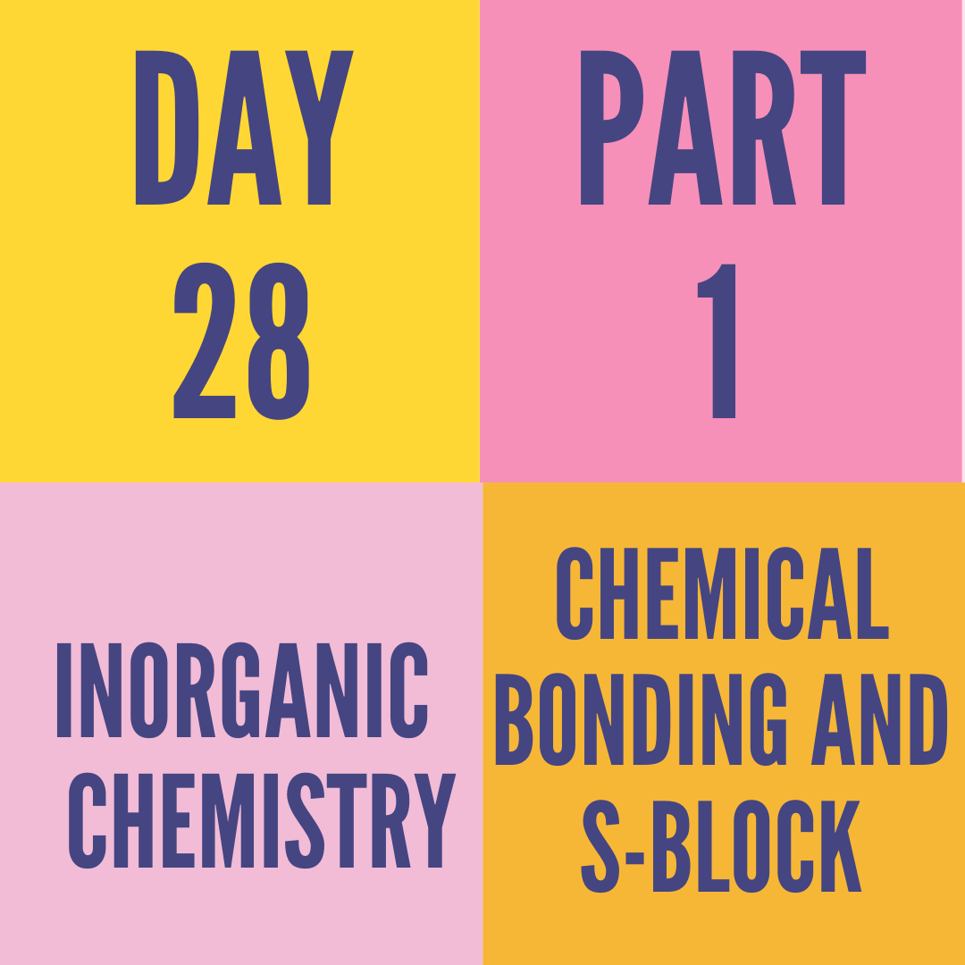 DAY-28 PART-1 CHEMICAL BONDING AND S-BLOCK
