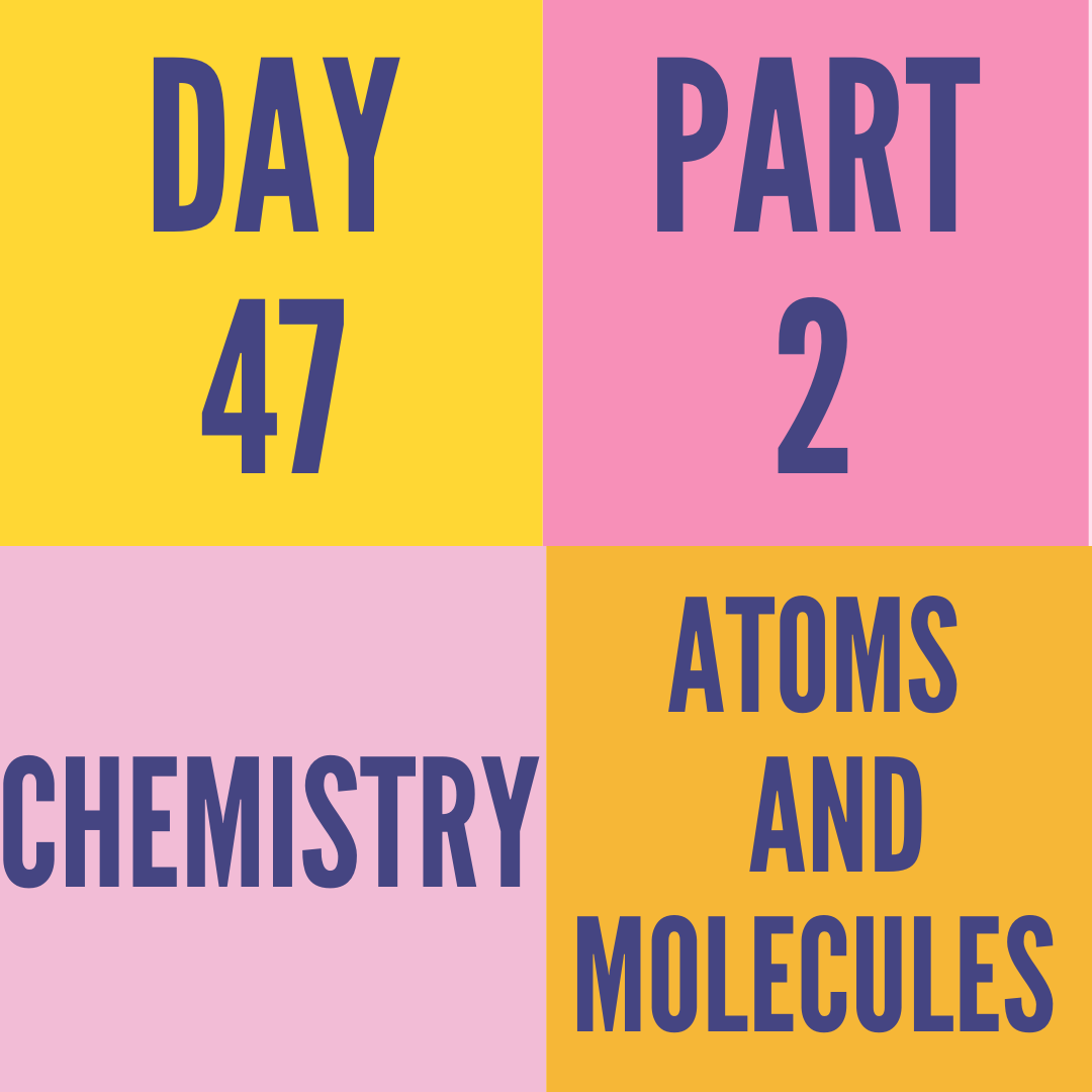 DAY-47 PART-2 ATOMS AND MOLECULES