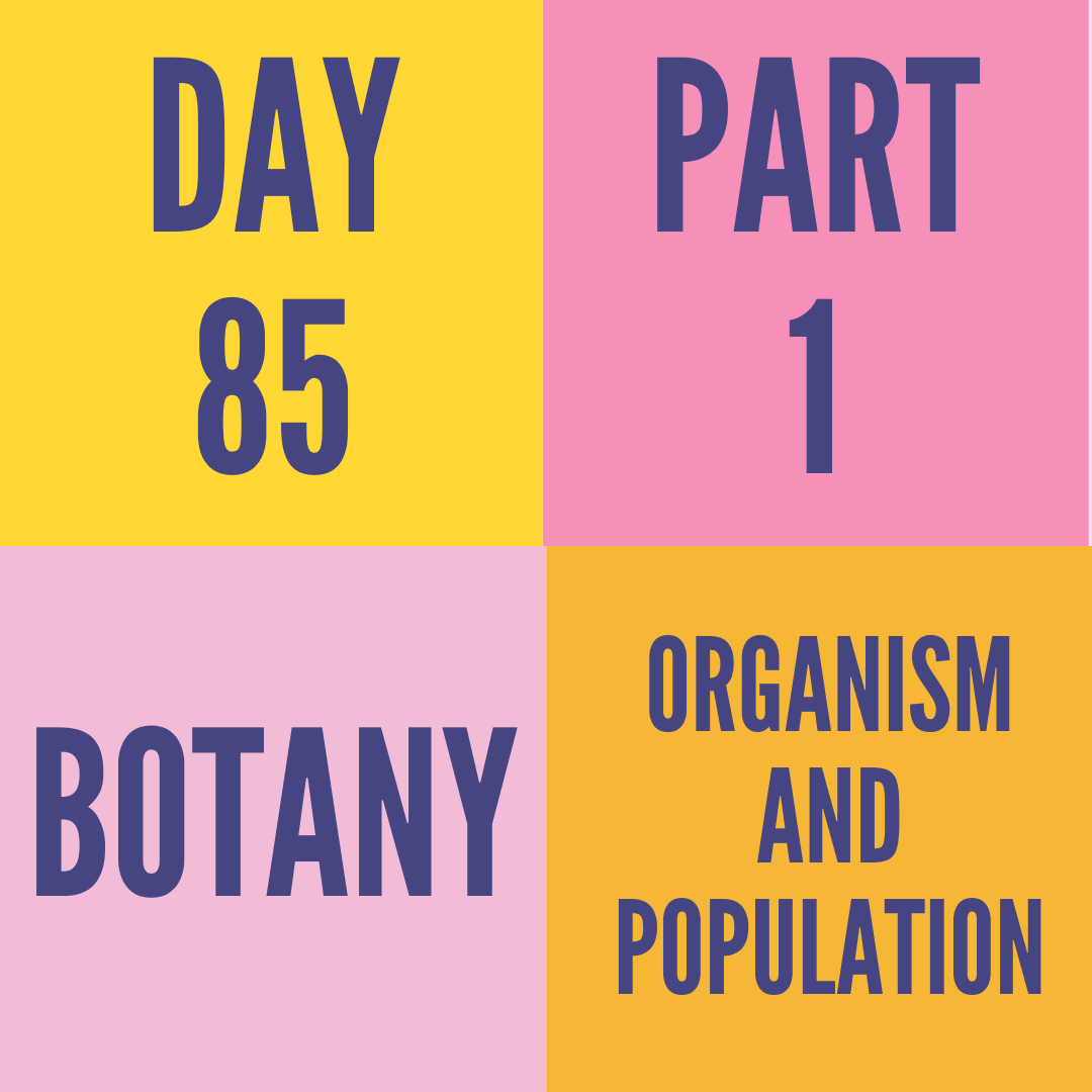 DAY-85 PART-1 ORGANISM AND POPULATION