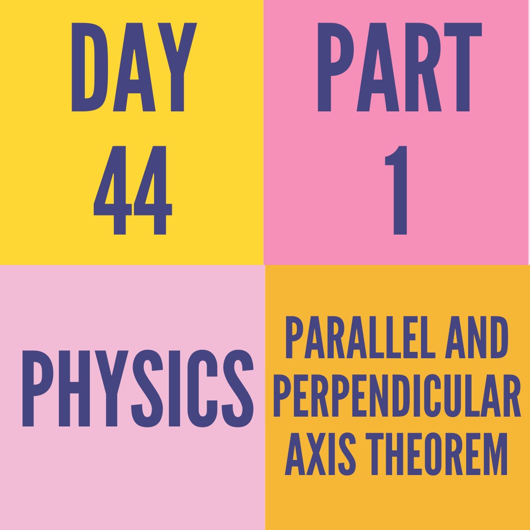 DAY-44 PART-1 PARALLEL AND PERPENDICULAR AXIS THEOREM