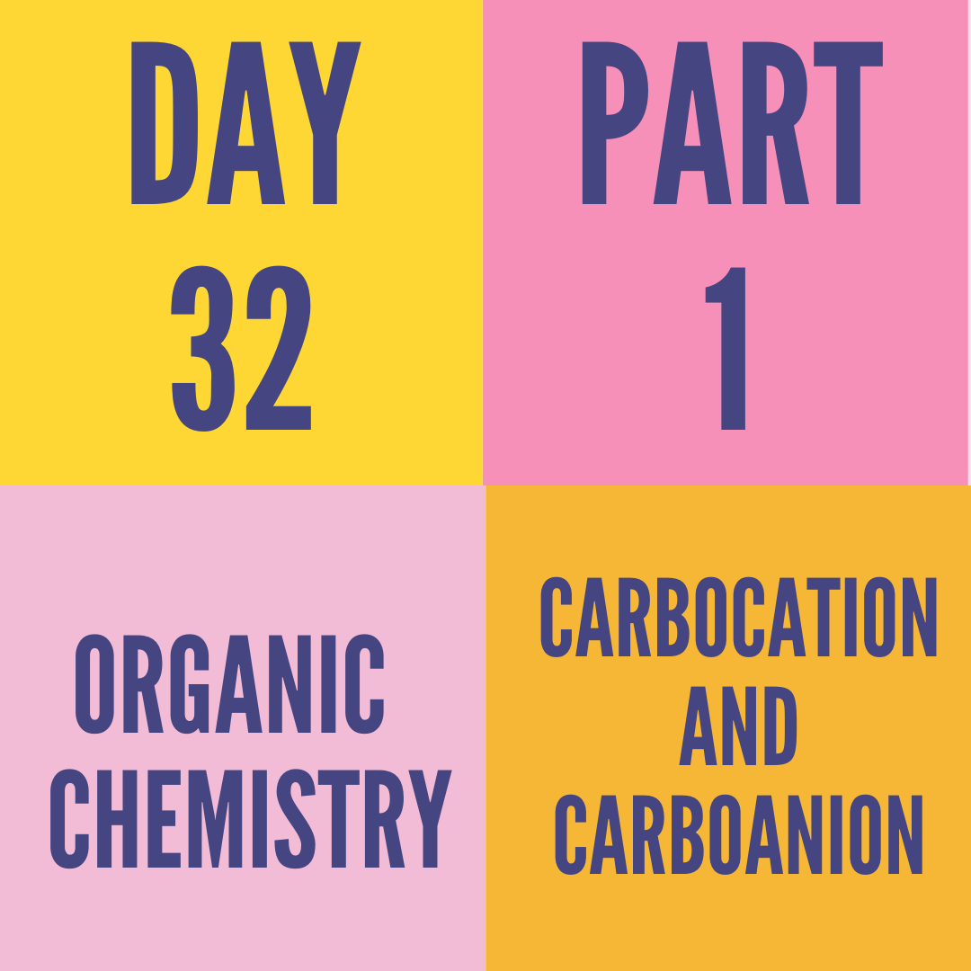 DAY-32 PART-1 CARBOCATION AND CARBOANION
