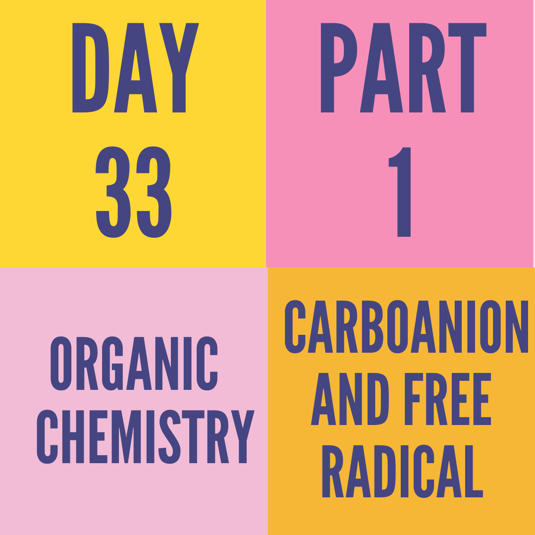 DAY-33 PART-1 CARBOANION AND FREE RADICAL