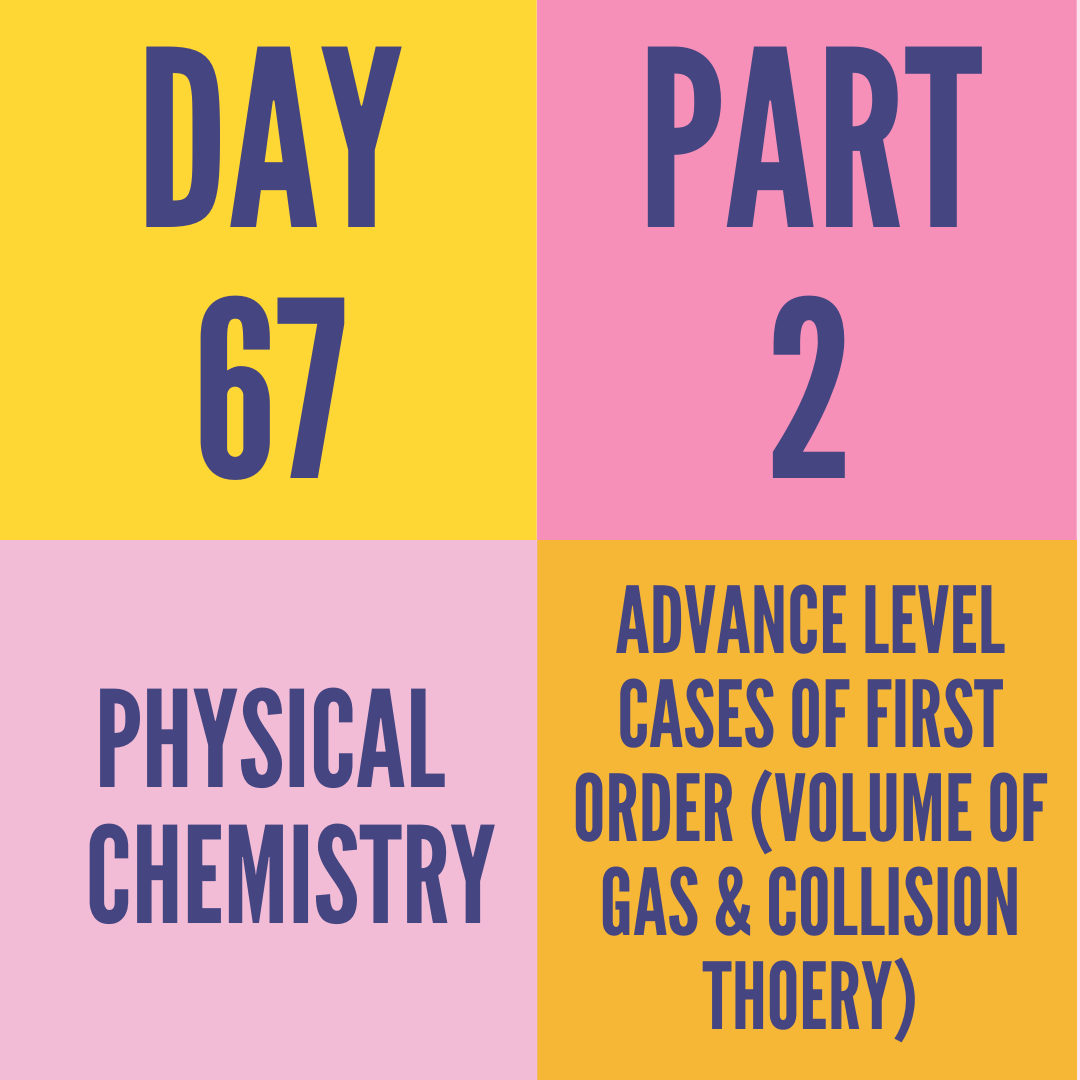 DAY-67 PART-2 ADVANCE LEVEL CASES OF FIRST ORDER (VOLUME OF GAS & COLLISION THOERY)