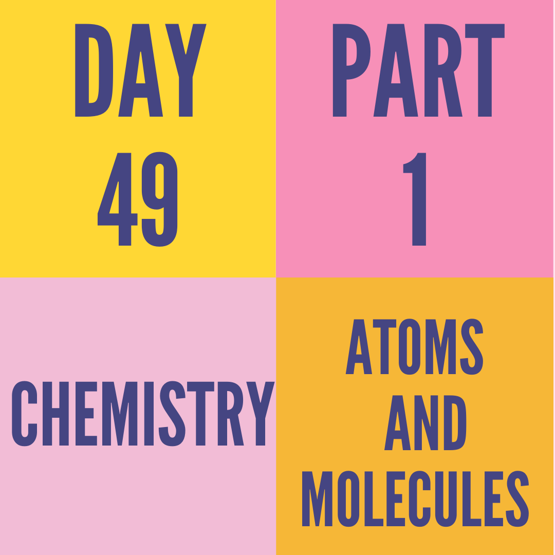 DAY-49 PART-1 ATOMS AND MOLECULES