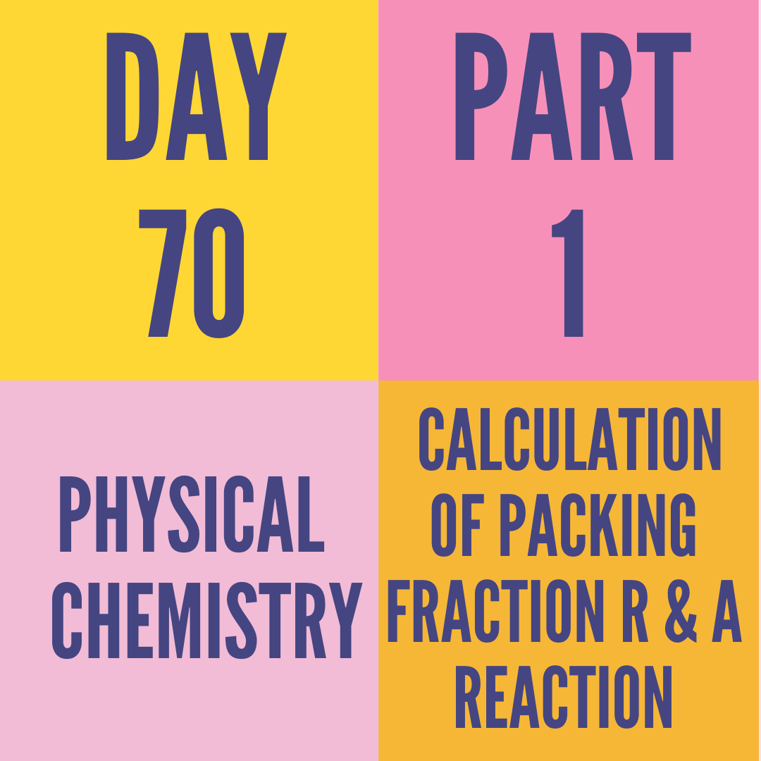 DAY-70 PART-1 CALCULATION OF PACKING FRACTION R & A REACTION
