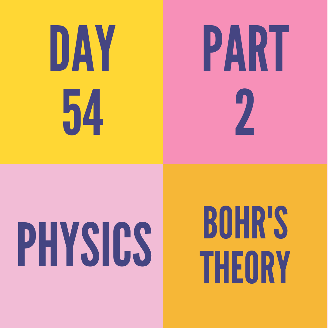 DAY-54 PART-2 BOHR'S THEORY