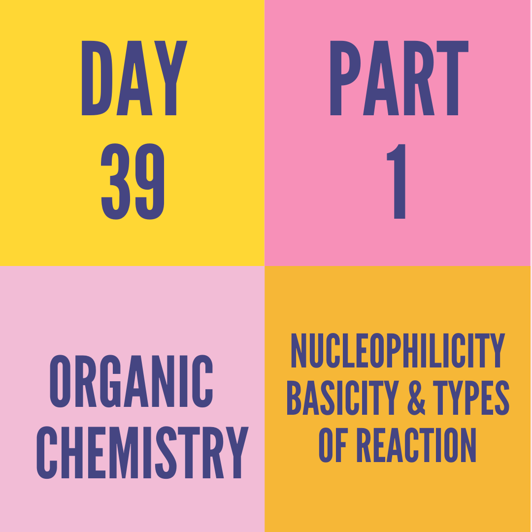 DAY-39 PART-1 NUCLEOPHILICITY BASICITY & TYPES OF REACTION