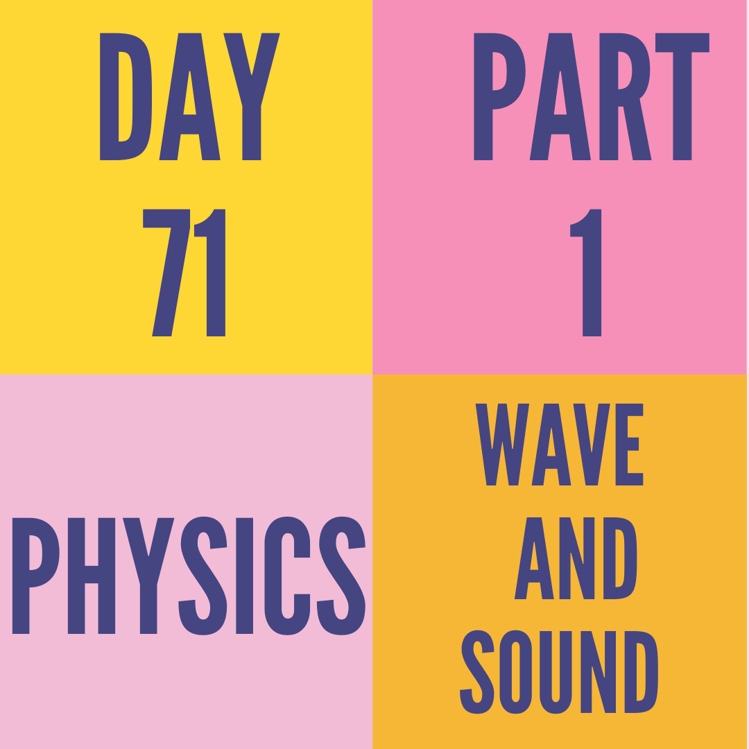 DAY-71 PART-1 WAVE AND SOUND