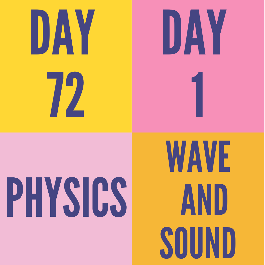 DAY-72 PART-1 WAVE AND SOUND