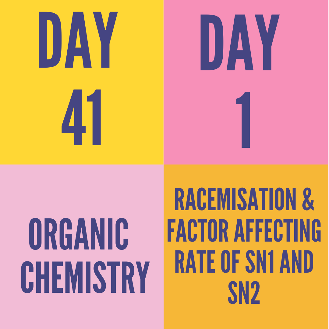 DAY-41 PART-1 RACEMISATION & FACTOR AFFECTING RATE OF SN1 AND SN2
