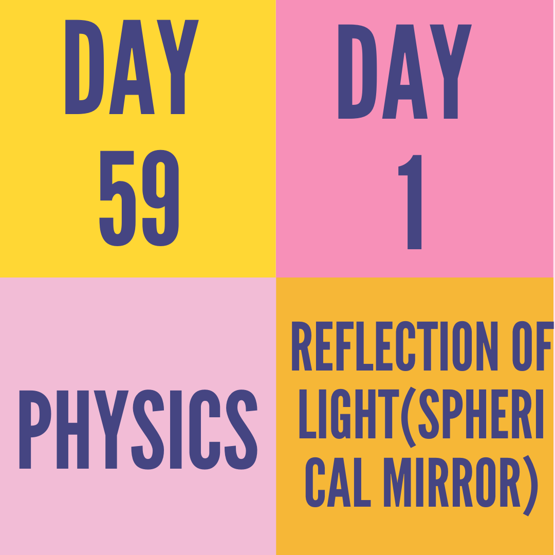 DAY-59 PART-1 REFLECTION OF LIGHT(SPHERICAL MIRROR)