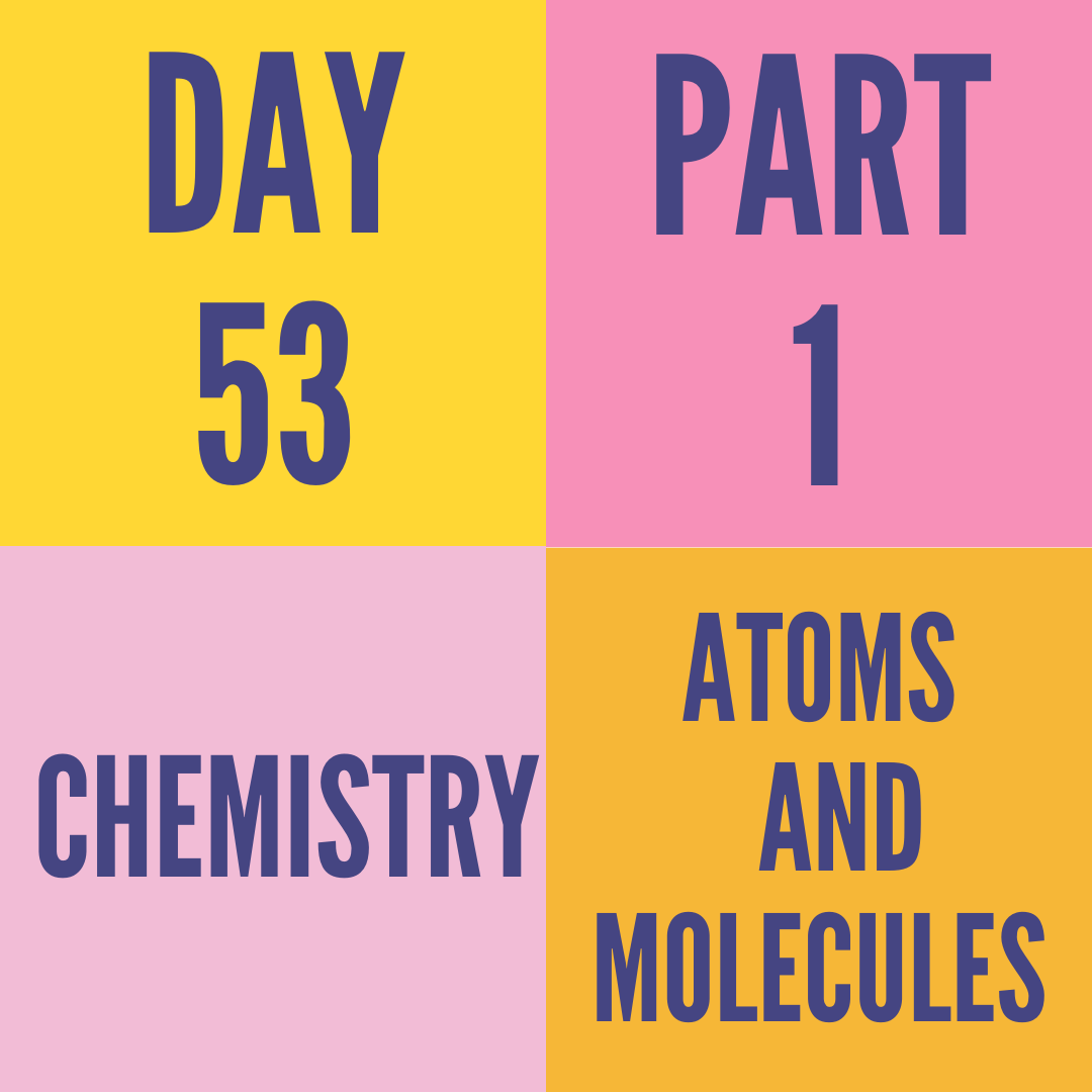 DAY-53 PART-1 ATOMS AND MOLECULES